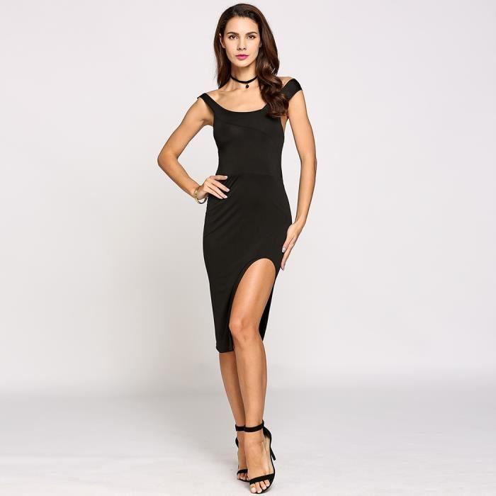 e3ed833a101 Crayon Robe sexy femme sans manches fendus Hem solide Noir Noir ...