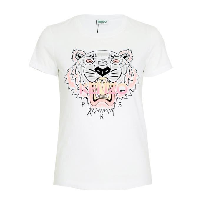T-shirt Kenzo Tiger Head pour Femme à manches courtes Noir Blanc ... aba35d005fc