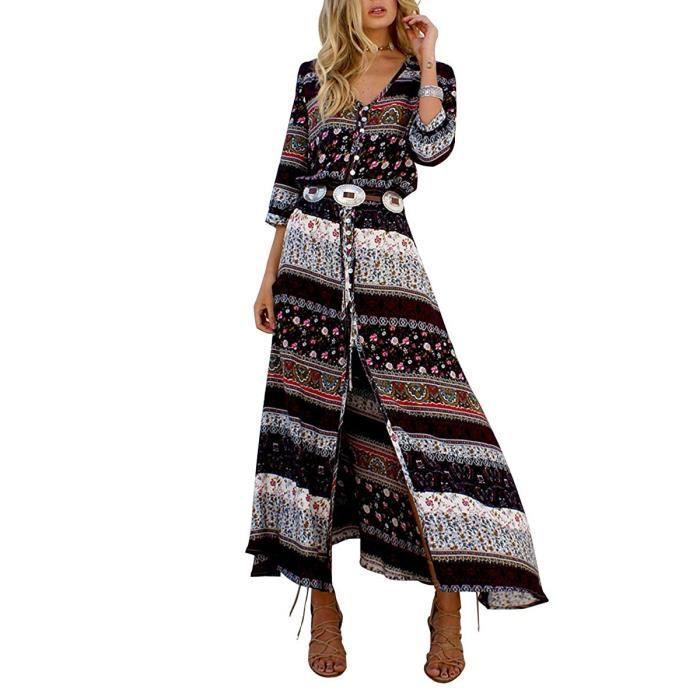 Robe Longue Impression Bohème Femmes Eté Vintage Style Side 3 V Dress Tomwell Long 4 Manches Fête Col Plage Maxi Slip F64qw