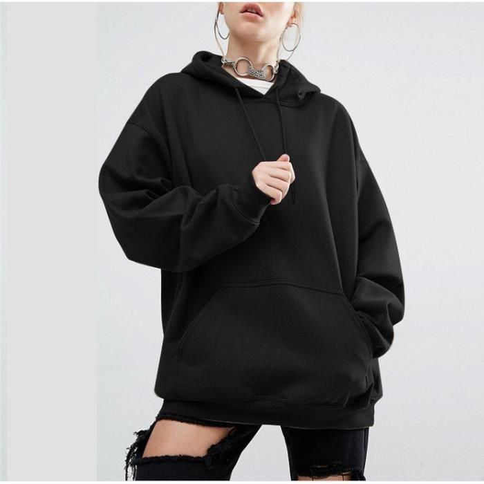 Sweats à Capuche Femme Manches Longues Hoodie Pull Sweatshirt Pullover  Sport Tops Jumper Automne Hiver Veste de vêtements Noir 173a456674c1
