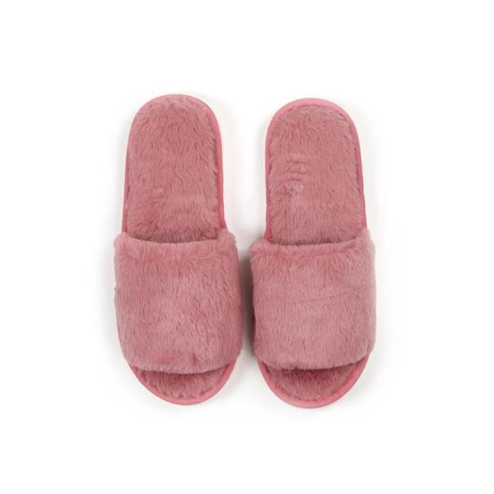 Accueil chaussons en peluche couleur solide Comfy étage chaussons 3932312 bQrrd