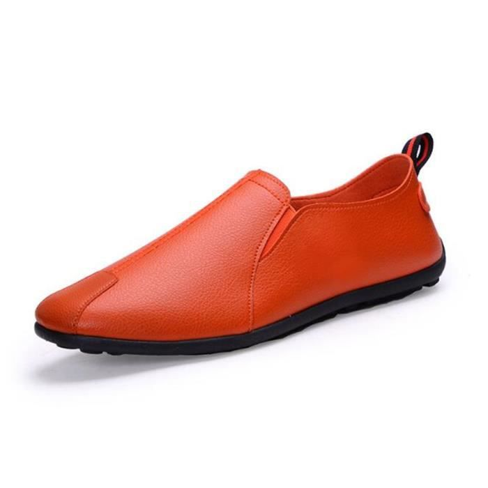 Mocassins Hommes Cuir Printemps Ete Plat Chaussures XX-XZ079Jaune41
