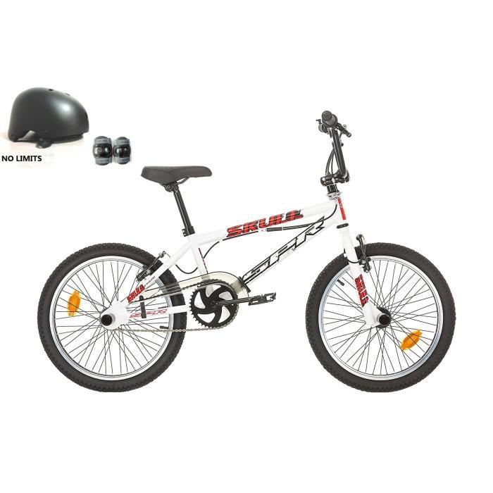 "BMX 20'' FREE STYLE "" SKULL / SPR "" AVEC ROTOR SYSTEM 360° - ROUES 48 RAYONS AVEC CASQUE INCLUS ( + GENOUILLERES & COUDIERES )"