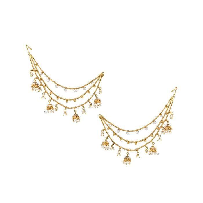 Bahubali Devsena Inspiré Boucles doreilles en cuivre de la chaîne des femmes DO1OC