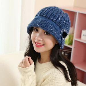 ... BONNET - CAGOULE Femmes Mode Fleur Crochet Knit Bonnet hiver chaud ... 586cc5c5cdc