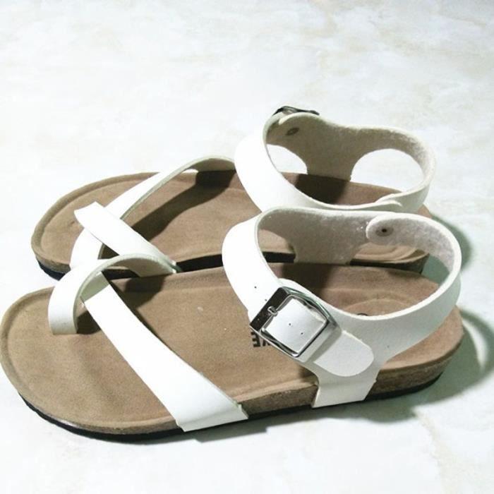 2017 Nouveau Femmes d'été Brown Chaussures Casual Ankle Wrap Sandales plates