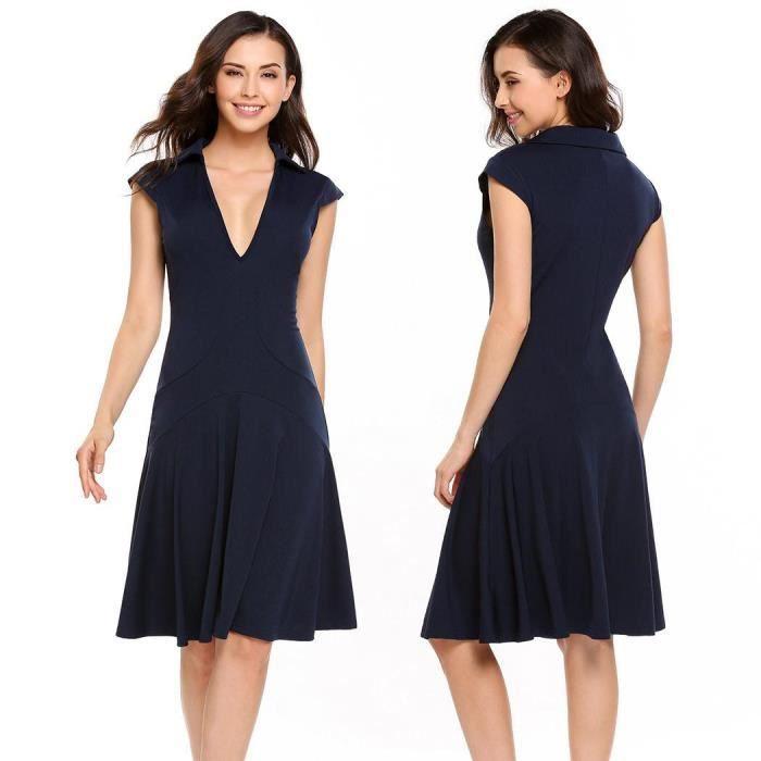 Femmes Vêtements décontractés V-Neck Cap Sleeve Solid Pullover A-Line Robe plissée