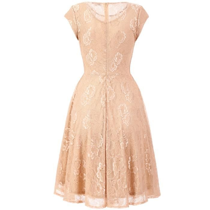 Womens Retro Floral Lace Dress Vintage Cocktail Dress Short Bridesmaid Dress With Sleeves 2JJ2JW Taille-34