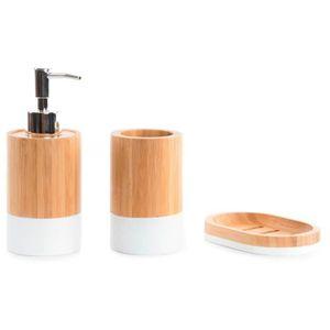 Accessoires salle de bain bambou - Achat / Vente pas cher