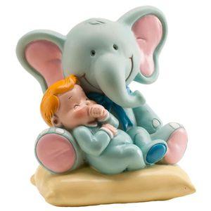 Figurine décor gâteau Figurine Enfant Elephant Bleu Bapteme - Décoration