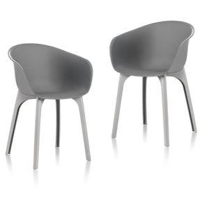 FAUTEUIL JARDIN  IDEA lot de 2 Chaises de jardin Diva Gris