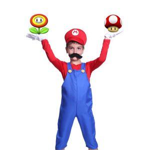 DÉGUISEMENT - PANOPLIE Tenue de Deguisement 4PCS Super Mario Luigi Bros F