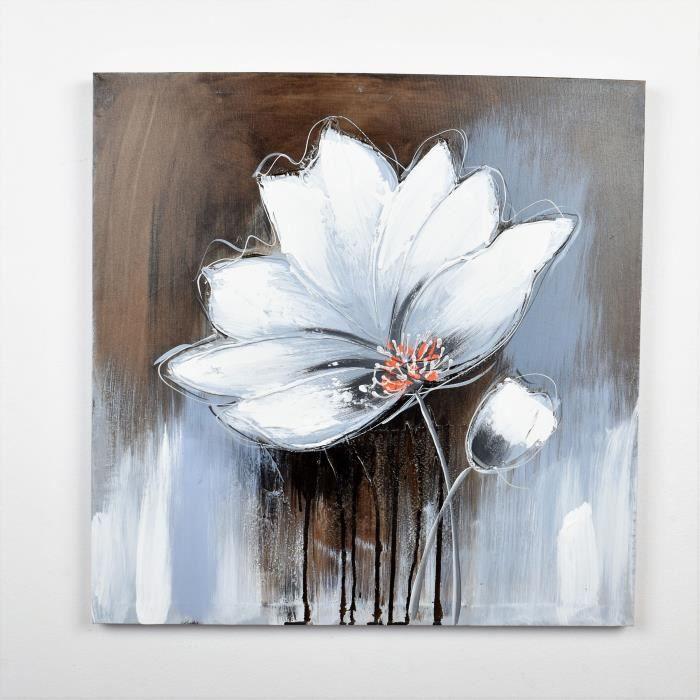 affordable tableau dco fleurs toile peinte with tableau toile pas cher. Black Bedroom Furniture Sets. Home Design Ideas