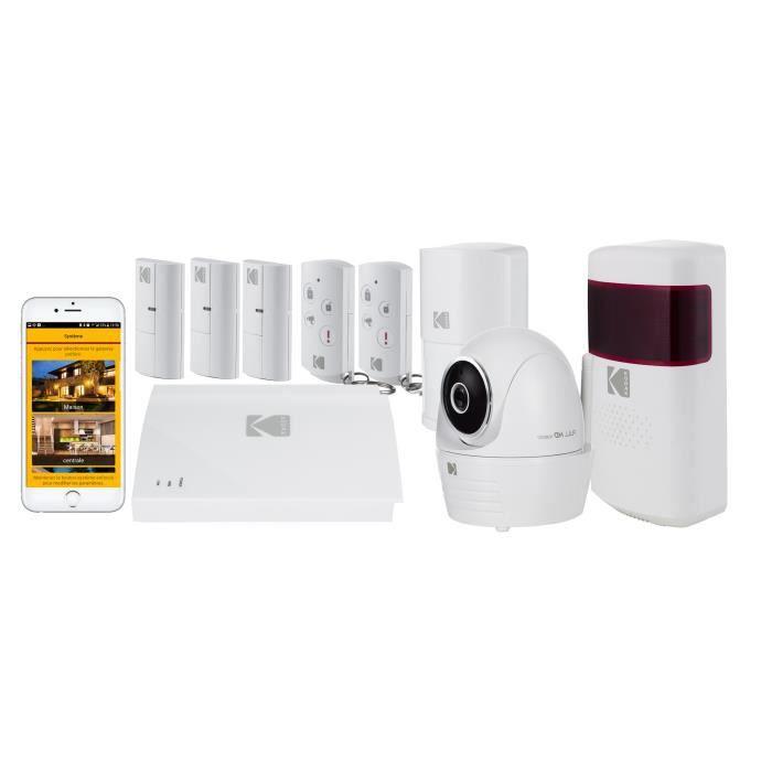 KODAK Pack Alarme maison sans fil avec caméra de surveillance Full HD Vision +