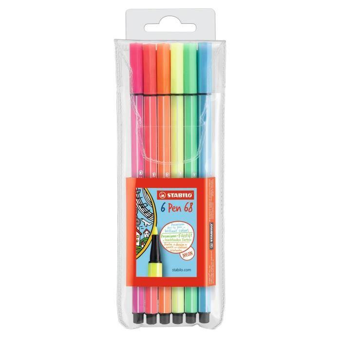 STABILO Pen 68 - Pochette de 6 feutres de coloriage - fluo