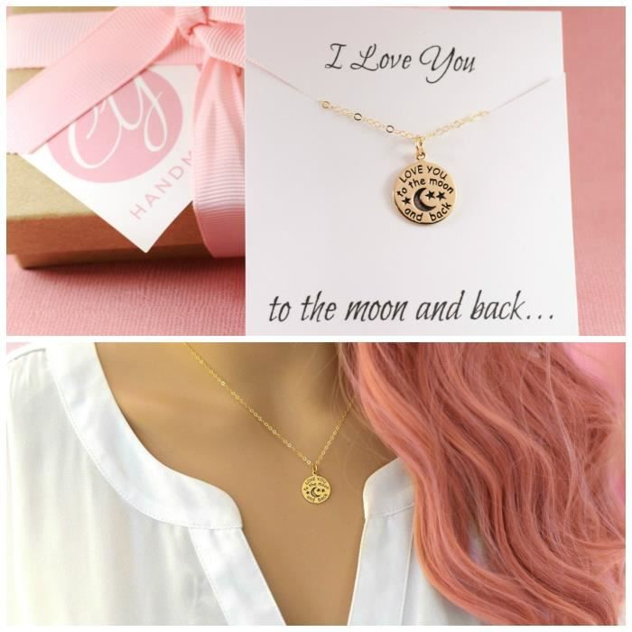 Womens I Love You To The Moon And Back Necklace - 14k Gold Fill - Simple Jewelry - Gift For Her ZYZ10