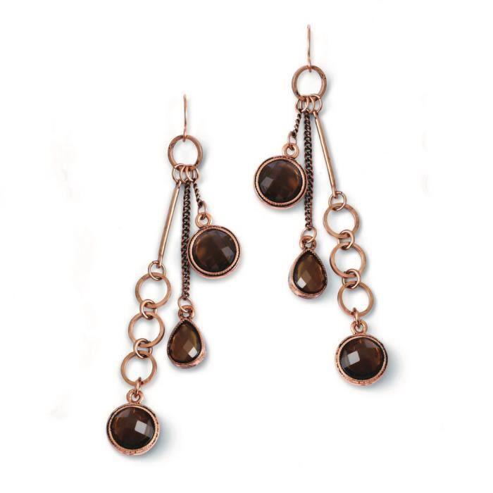 Couleur cuivre Marron Perles acrylique-Boucles doreilles pendantes
