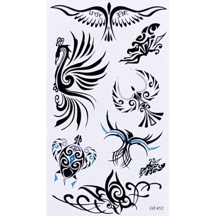 tatouage temporaire oiseau tribal 8 stickers achat vente tatoo bijou de corps tatouage. Black Bedroom Furniture Sets. Home Design Ideas