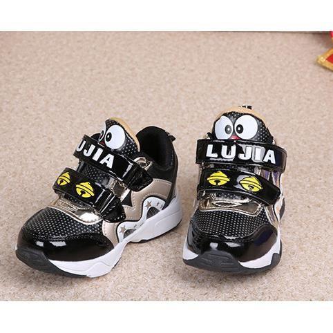 Enfants chaussures chaussures résistantes pratique de glissement de bande dessinée de Velcro-Noir Pdr6Z8Qk
