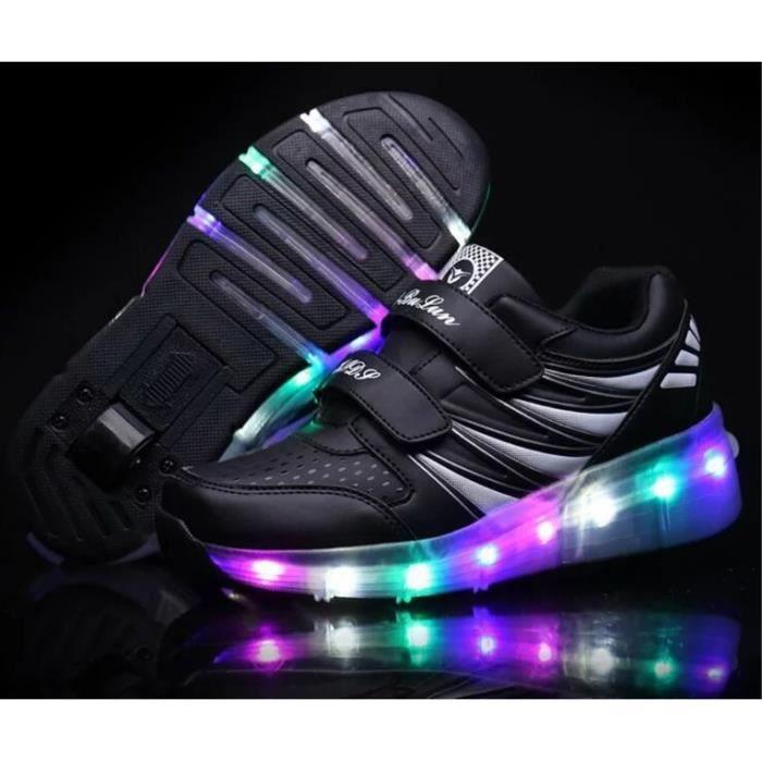 LED Éclairage Chaussures Iridescence Arc-En-Ciel Roller Homme et Femme Chaussure Velcro Multifonctionnel 7 Coloré Superstar Heelys