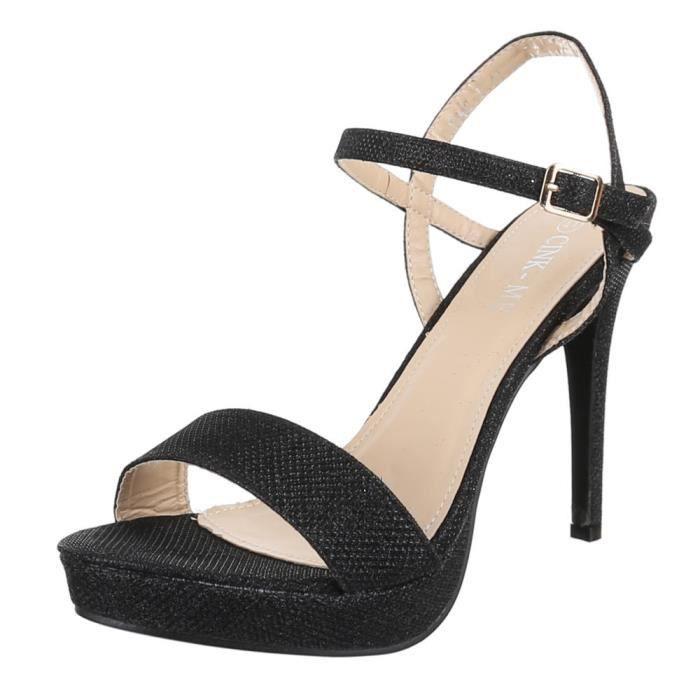 1d9d6c90d8f Chaussures femmes sandales Talon haut Plateau Escarpins Noir Noir ...