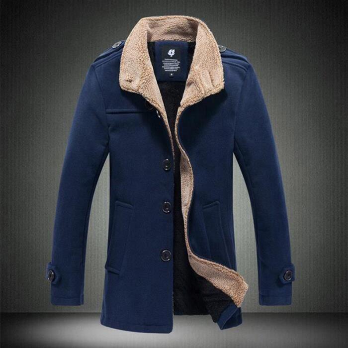 Épais Chaud Et Homme Noir Debout Collier Élégant Casual Manteau bleu Hiver kaki Plus Automne Duffle BYICqx