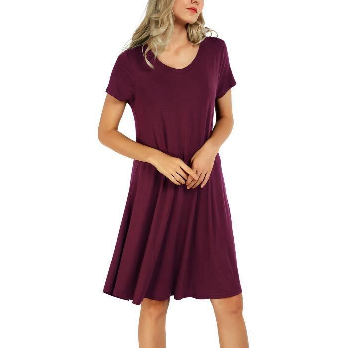 a8377a44d3b Tunique Robe Fluide Grande Taille Casual Chemise Longue Tops T-shirt Robe  Pour Femme 1HU2HV