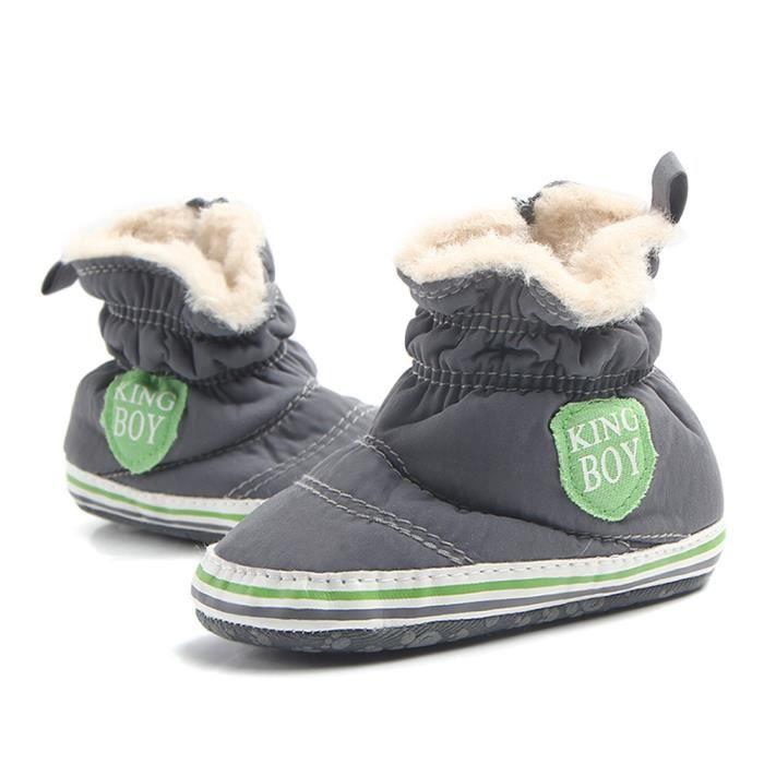 BOTTE Automne Hiver Nourrisson Bébé Garçon Semelle Souple Premier Walker Crib Chaussures Bottes de neige@GrisHM