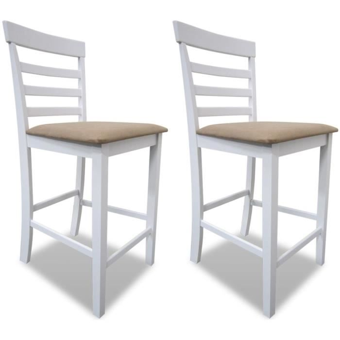 Chaise de bar 2 pcs Bois Blanc et beige Chaise de salle à manger Chaise  Scandinave Contemporain Lot de 2 Chaises