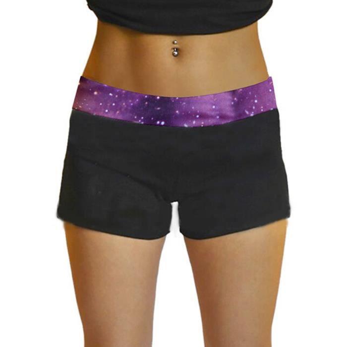 Femme Pantalon Short Sportif Gym Exercice Violet étoiles ciel ... 909639db92f