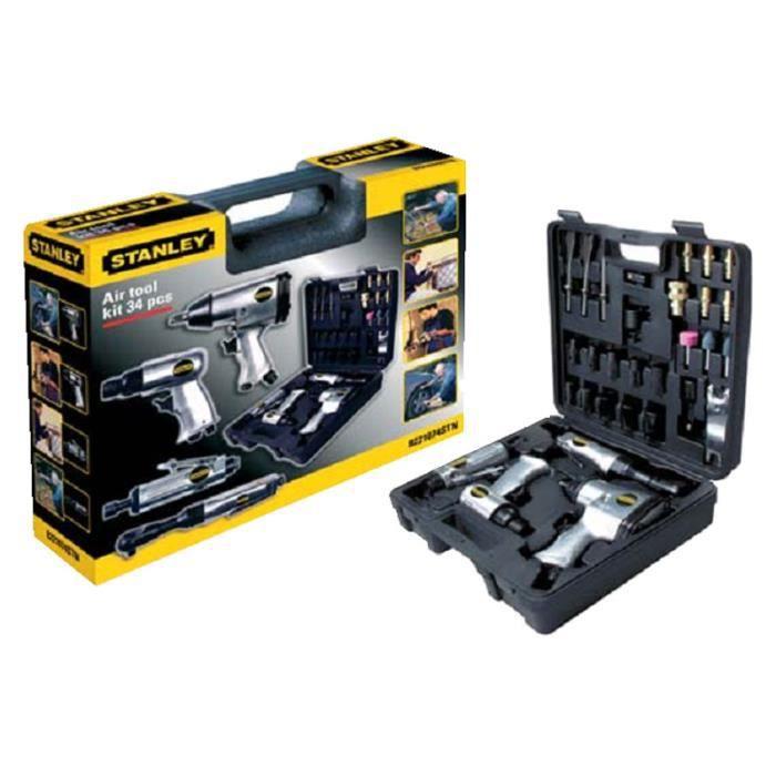 ACCESSOIRE PNEUMATIQUE Kit d'outils pneumatiques + accessoires 34 pièc...