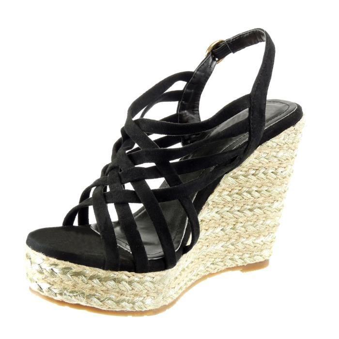 Angkorly - Chaussure Mode Sandale Espadrille plateforme femme lanière multi-bride Talon compensé plateforme 11.5 CM - Noir - 429-9