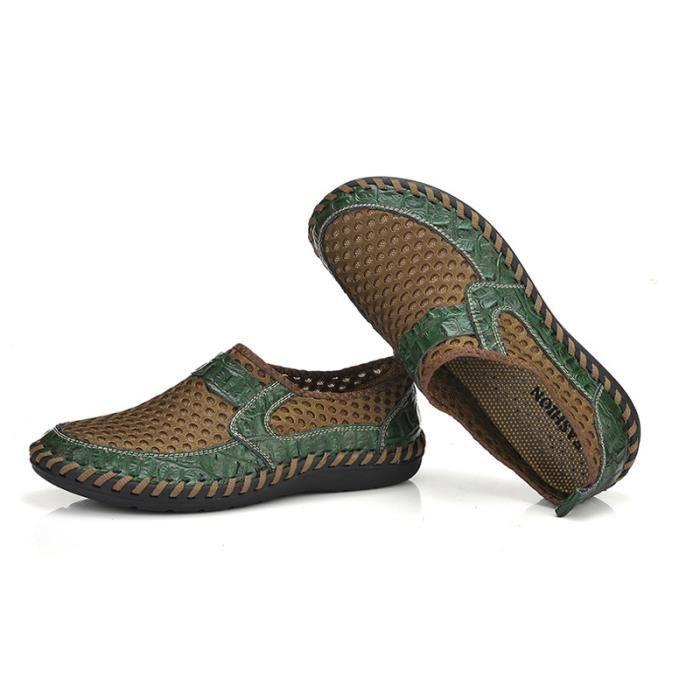 Homme Printemps Comfortable Slip XZ070Vert40 On Chaussures Été Chaussure Respirant DTG U6BwU