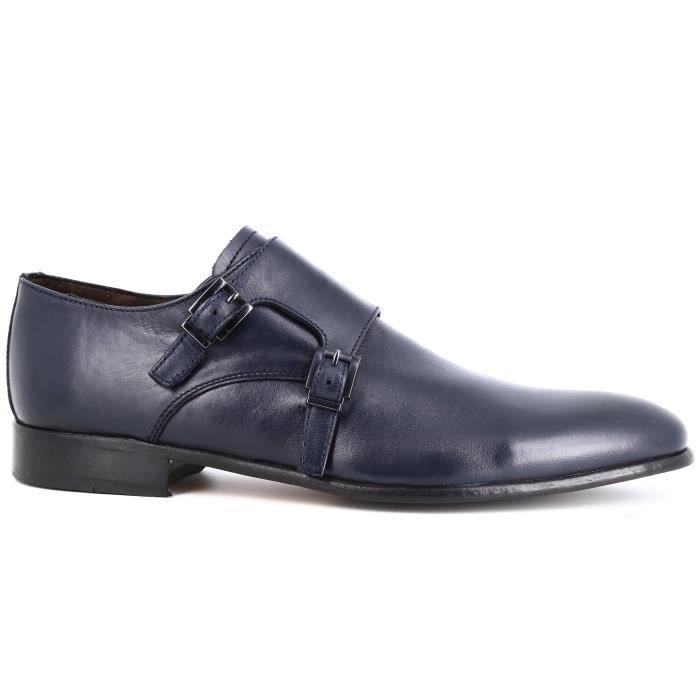 Belym Chaussures homme de Ville en CuirBleu Marine Avec Boucles