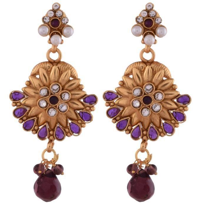 Femmes 1 gramme plaqué or avec des pierres pourpres et perles avec Set gtika collier pourMQBO8