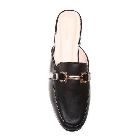 magasin en ligne 86dc2 a16c5 La Modeuse - Mules style mocassin femme en PU Noir - Achat ...
