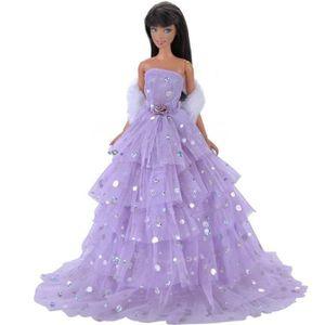 ACCESSOIRE POUPÉE E-TING Robe Purple Fashion Multilayer Paillettes D