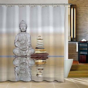 RIDEAU DE DOUCHE 3D Rideau de Douche Bain Bouddhisme Cascades Tissu