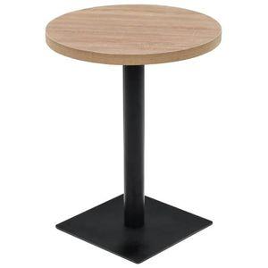 TABLE BASSE Table de bistro MDF et acier Rond 60 x 75 cm Coule