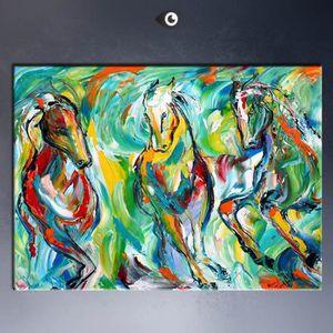 TABLEAU - TOILE Home Décor Peinture à l'huile Running Horse HD Imp