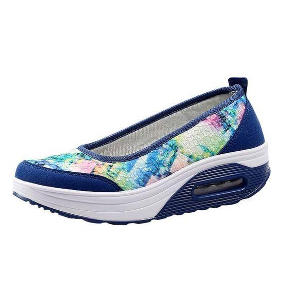 Femmes Air Cushion Net Surface Shoes Shake Shoes Slip Sport Leisure Sneakers Bleu foncé  Bleu foncé - Achat / Vente slip-on