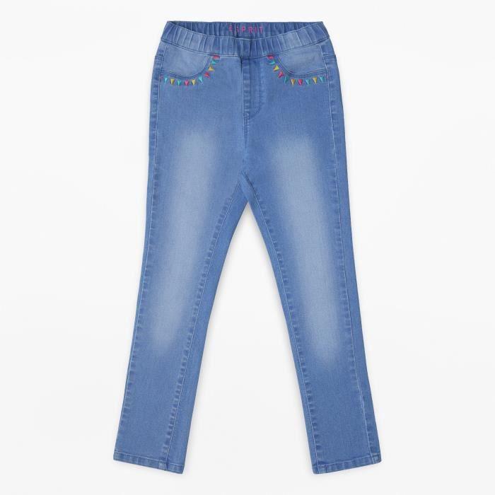 ESPRIT Pantalon Jean Slim Délavé Bleu Clair Enfant Fille