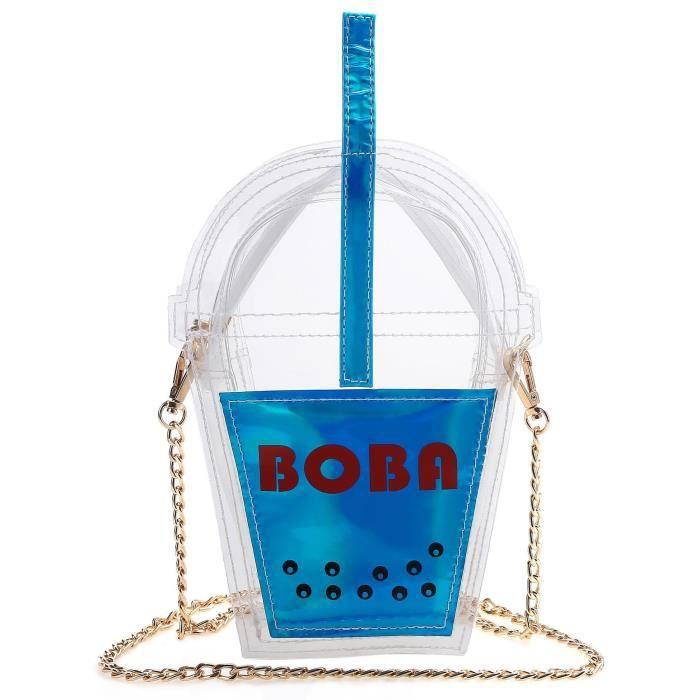 femmes Sac à bandoulière en forme de bouteille de boissons transparentes avec chaîne Bleu