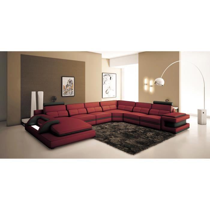 Canapé panoramique cuir rouge et noir design avec lumi¨re IBIZA
