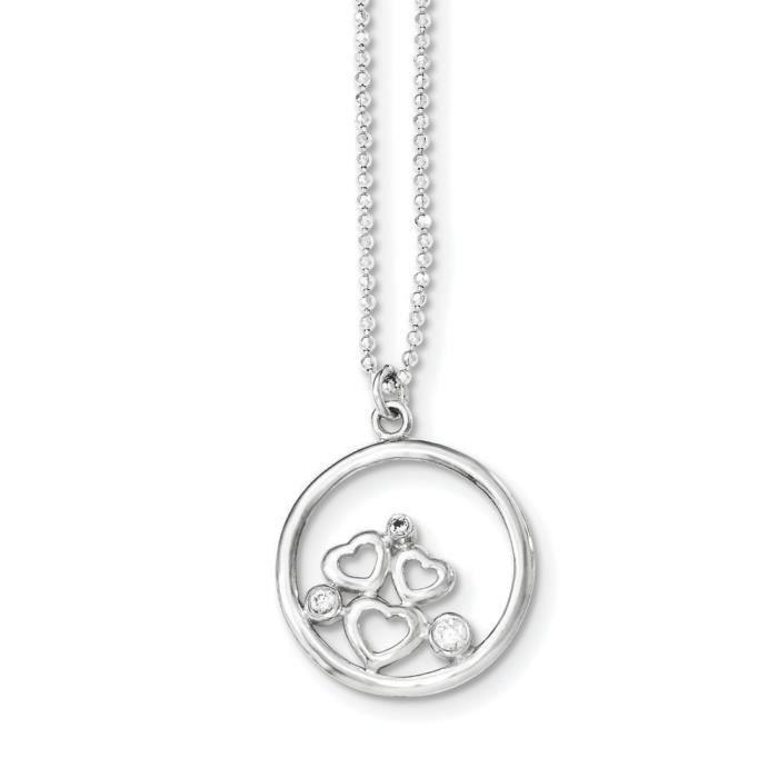 CZ en argent Sterling poli collier coeur - 18 cm