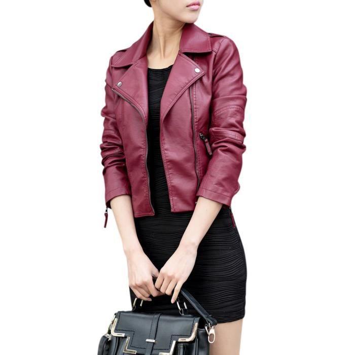 Veste femme en cuir noir pas cher