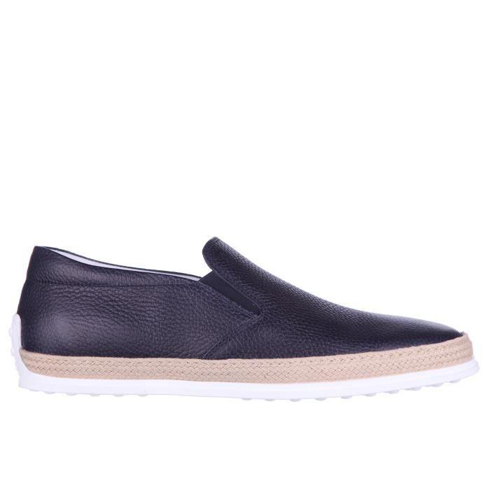 Slip on homme en cuir sneakers gomma rafia tv Tod's
