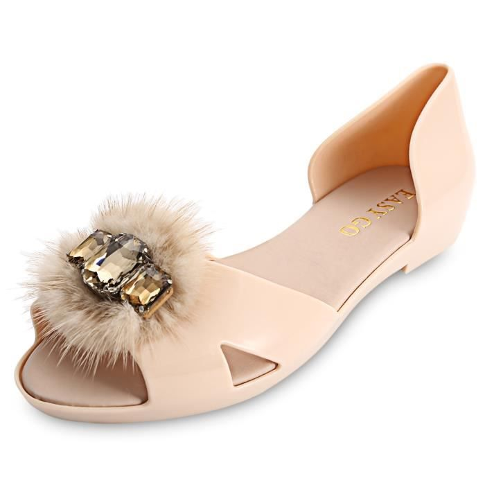 Toes strass fourrure femme Slip On Chaussures plates