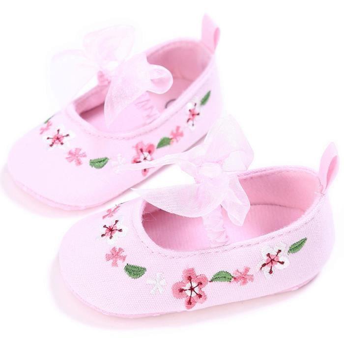 Frankmall®Fille mignonne Broderie berceau chaussures fleur douce semelle anti-dérapante bébé Sneakers ROSE#WQQ0926202 lBYp8AraXf
