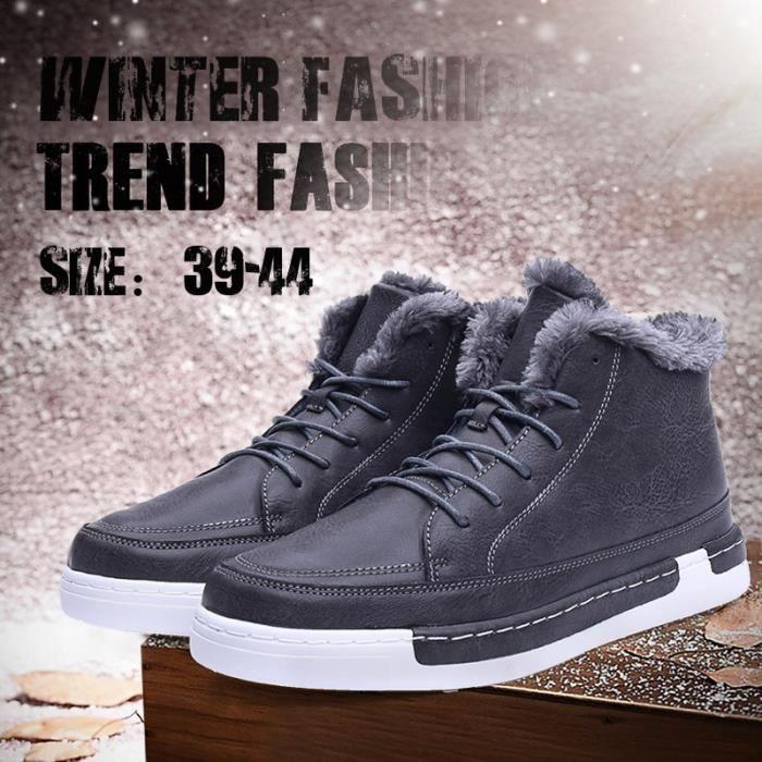 Bottes pour Hommemarron clair 42 Mode d'hiver plus cachemire Chaussures chaudes causales en cuir_505